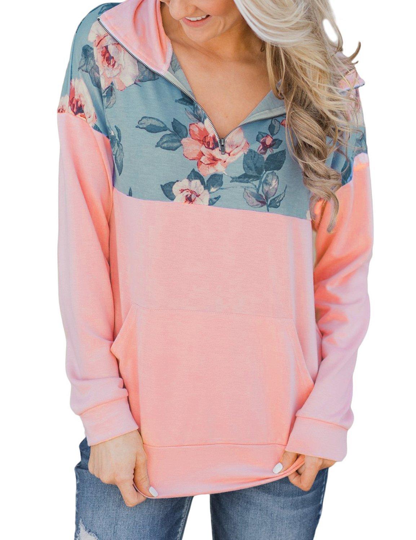 GRAPENT Womens Casual Floral Print Splice Zipper Kangaroo Pocket Sweatshirt Tops Light Pink X-Large (fits US 16-US 18)