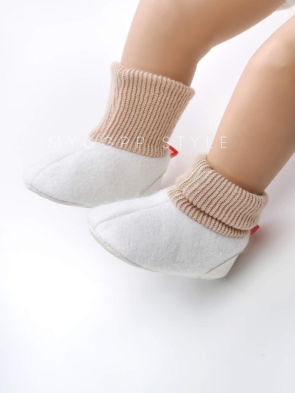 E-FAK Baby Boys Girls Cozy Fleece Booties Non-Slip Bottom Warm Winter Slippers Socks Infant Crib Shoes First Birthday Gift