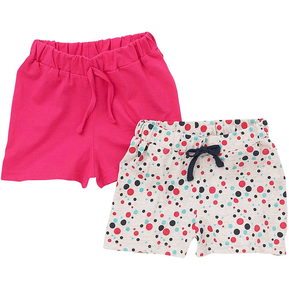 Just Essentials Girls 2 Pack Spot Print/Plain Cotton Summer Holiday Shorts