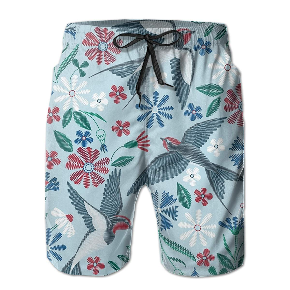 FUNSTYEET Flowers and Swallows Mens Board Shorts Swim Mesh Lining and Side Pocket