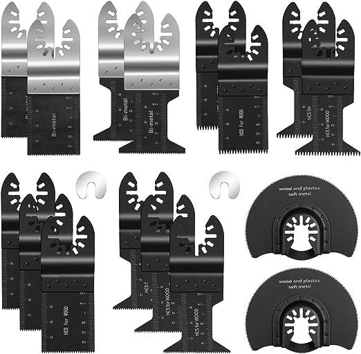 ORIA 16 tlg S/ägebl/ätter Kit Mix Klingen Multitool Oszillierwerkzeug Zubeh/ör N/ägeln usw Ideal f/ür Fein Multimaster Kunststoff Craftsman Milwaukee Dewalt Weichmetall Zum Schneiden von Holz