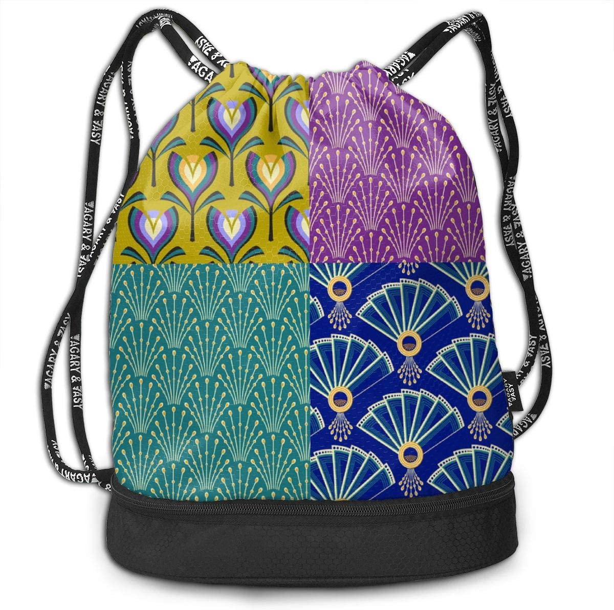 Deco Fans Flowers Bead Selection Drawstring Backpack Sports Athletic Gym Cinch Sack String Storage Bags for Hiking Travel Beach
