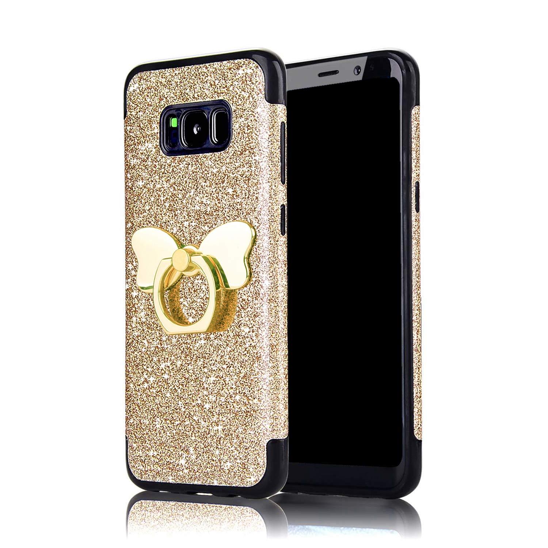 Misstars Glitzer Hülle für Galaxy S9 Blau, Bling Pailletten Weiche TPU Silikon Handyhülle Anti-Rutsch Kratzfest Schutzhülle mit Schmetterling Ring Ständer für Samsung Galaxy S9