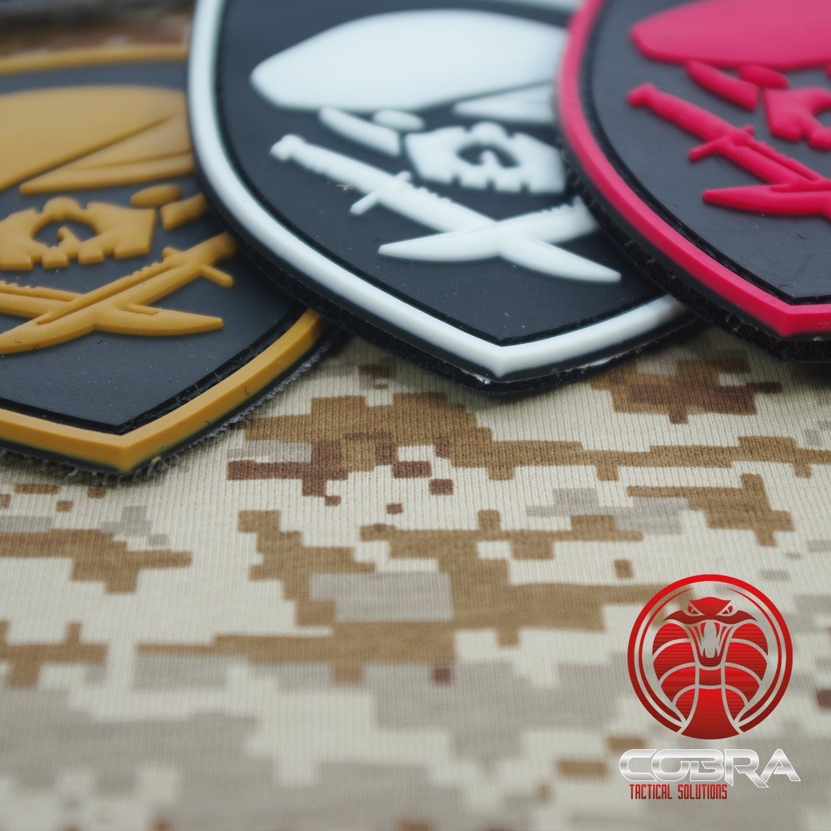 Cobra Tactical Solutions SAS beret skull 3D PVC patch brown Hook /& Loop airsoft