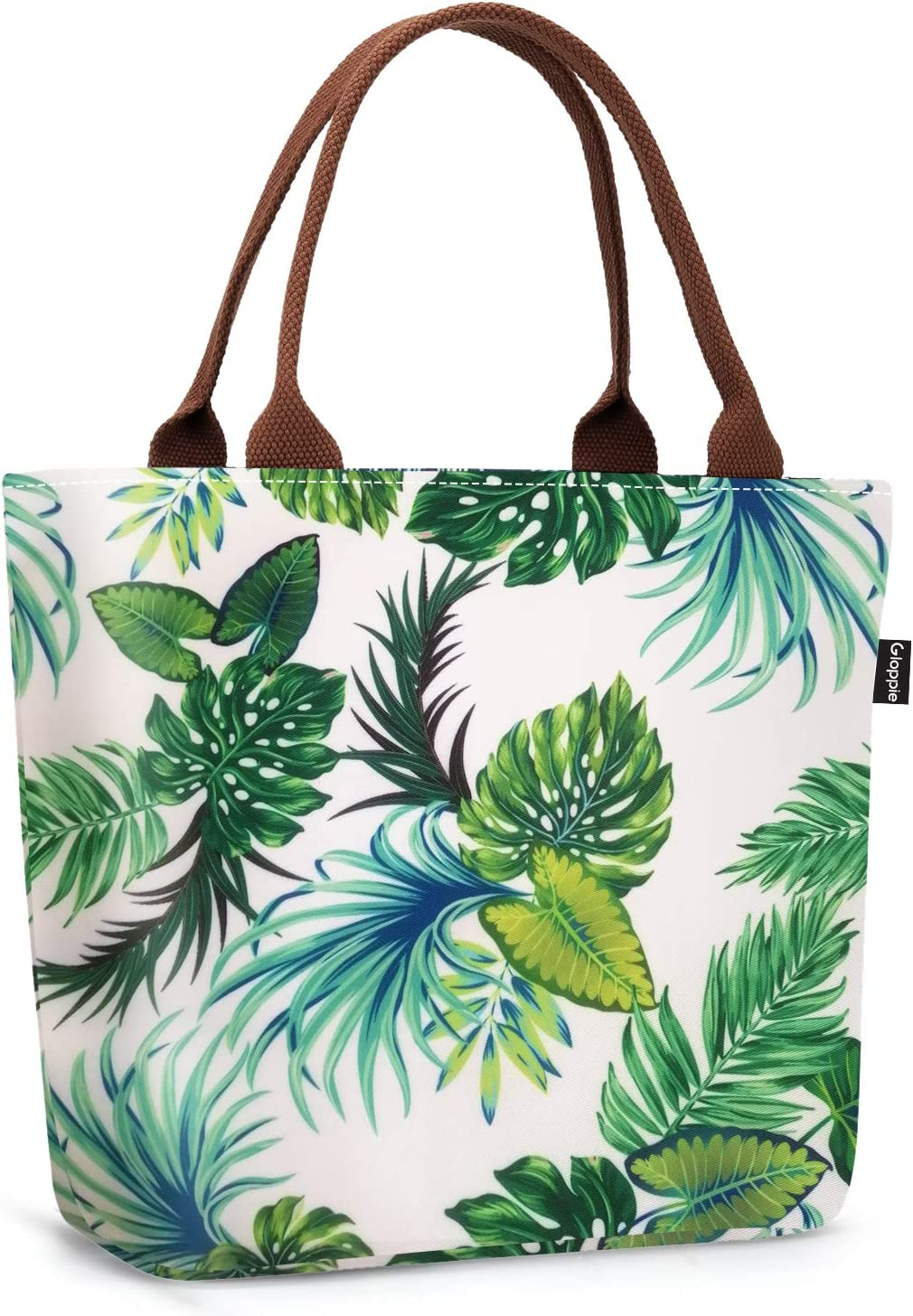 Gloppie Lunch Bags Leakproof Lunch Tote for Women Insulated Lunch Box Purse Food Delivery Cooler for Adults Ladies for Work Picnic Beach 9L Palm Leaf