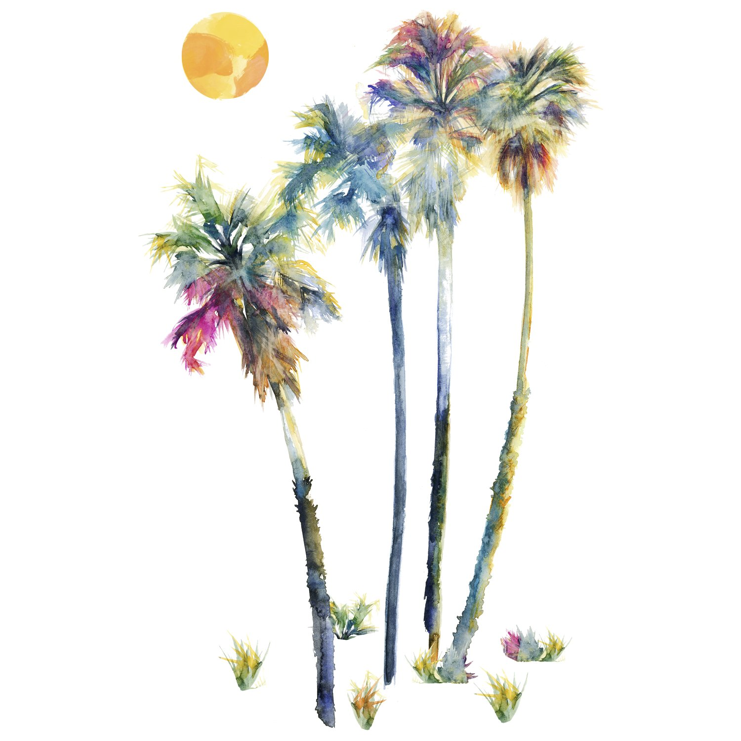 Roommates rmk2782gm watercolor palm trees peel stick giant wall roommates rmk2782gm watercolor palm trees peel stick giant wall decals 23 x 47 amazon amipublicfo Image collections