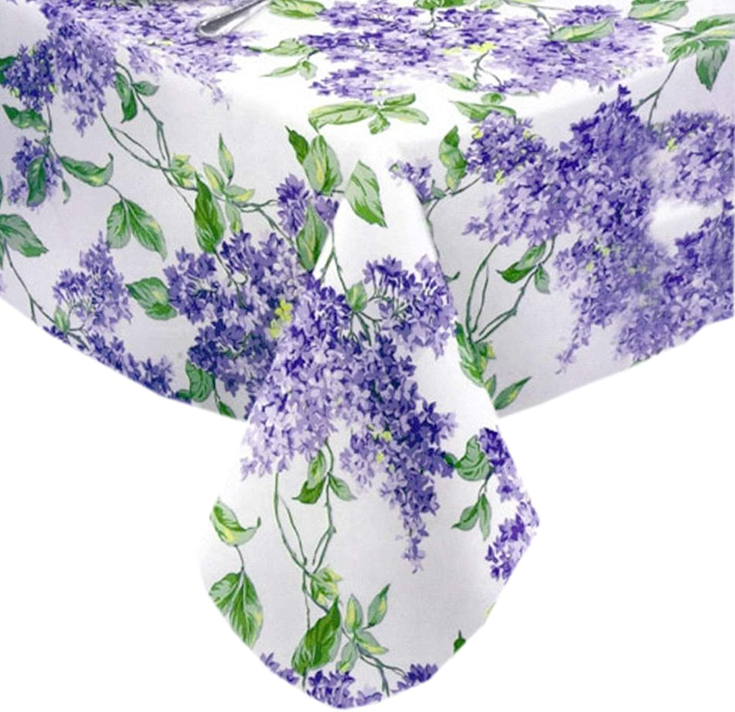 "Lilac Fields Heavy 4 Gauge Vinyl Flannel Backed Tablecloth, Purple Lilacs Floral Indoor/Outdoor Wipe Clean Picnic, Kitchen, Dining Room Tablecloth - 60"" x 104"" Oblong/Rectangle"
