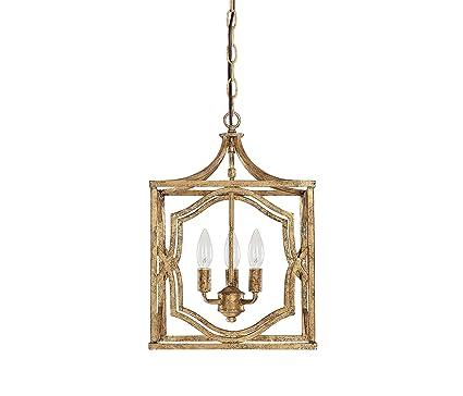 Capital Lighting 9481AG Blakely 3 Light Foyer Fixture, Antique Gold Finish