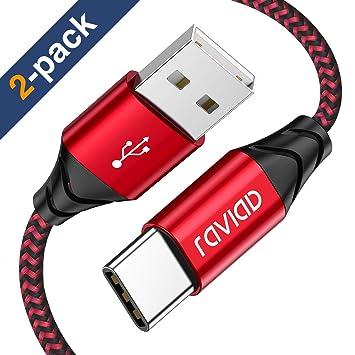 RAVIAD Cable USB Tipo C, [2Pack 2m] Cargador USB Tipo C de Nylon Carga Rápida y Sincronización de Datos para Galaxy S9/ S8/ Note 9/ Note8, Huawei P20 ...