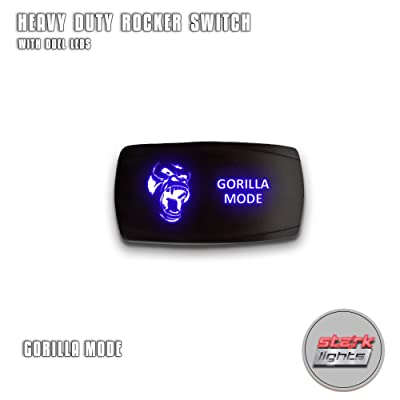 GORILLA MODE - Blue - STARK 5-PIN HORIZONTAL Laser Etched LED Rocker Switch Dual Light - 20A 12V ON/OFF: Automotive