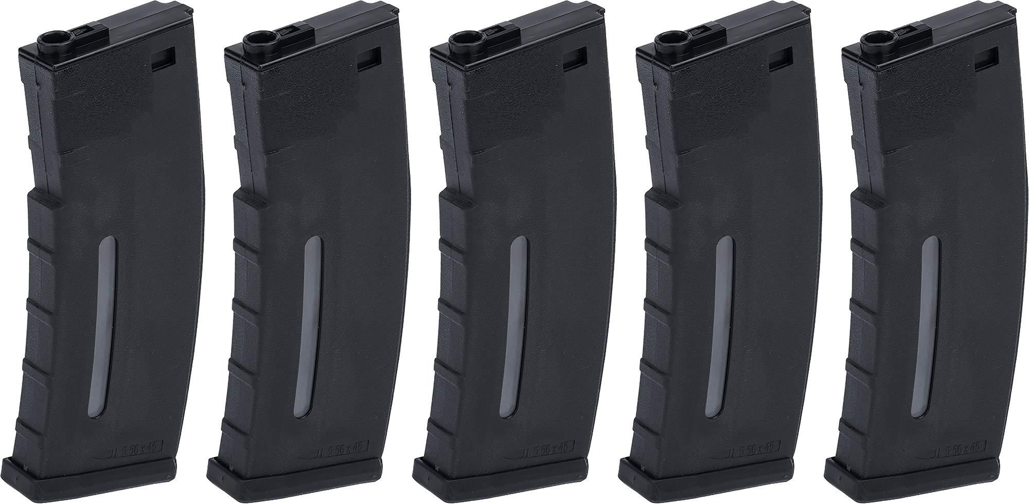 Evike BAMF 30rd Polymer Mil-Sim Airsoft Magazine for M4 / M16 Series AEG Rifles (Color: Black / x5 Package) by Evike