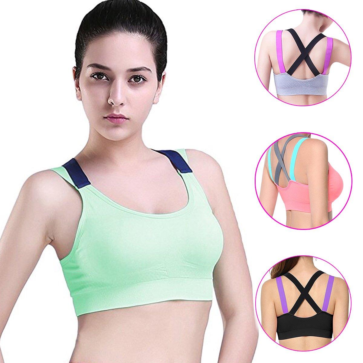 Yusamy Racerback Sports Bras for Women Padded High Impact Workout Yoga Strappy Bra