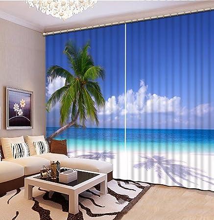 Moderne Gardinen Wohnzimmer | Wapel Moderne Gardinen Cool Blue Sky Big Meer Landschaft Gardinen