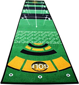 tochean Golf Putting Mat 20'' x 10' Indoor Putting Green Mat with TPR Anti-Slip Backing 2'' Thick Golf Practice Mat Size Marked Convenient Exercise at Home Green
