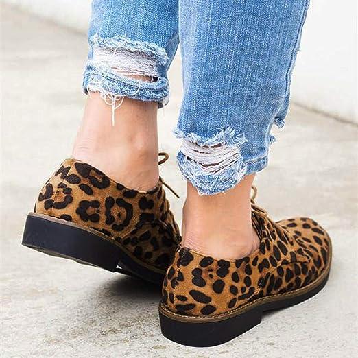 Longra Zapatos Mujer Plataforma,Tobillo Estampado De Leopardo Zapatos De Gamuza Planos con Cordones: Amazon.es: Ropa y accesorios
