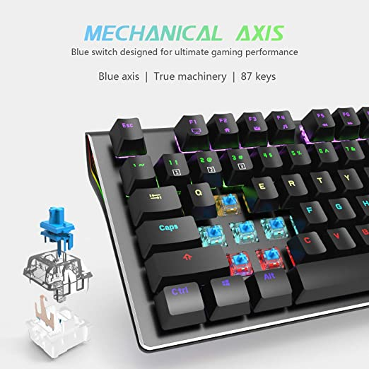 Amazon.com: RK G87 87 Keys Mechanical Keyboard Rainbow LED Backlit Gamers Wired Gaming Keyboard with Blue Switches Metal Cover for PC Laptop: Computers & ...