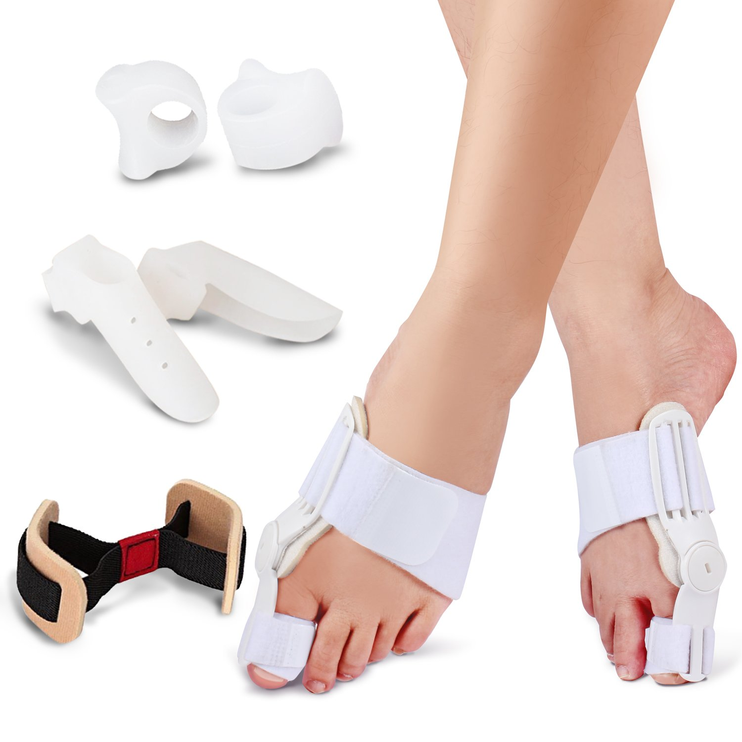 Bunion Corrector & Bunion Splints-Bunion Relief Kits to Treat Big Toe Joint, Hallux Valgus, Hammer Toe, Toe Separators Spacers Straighteners Splint Aid Surgery Treatment for Men & Women.