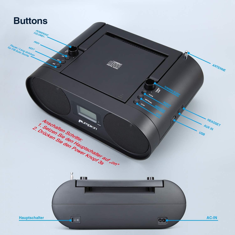 PUMPKIN tragbares Radio Mit CD Player Boombox Eingebaute Wiederaufladbare 2000 mAh Lithium Batterie Unterst/ützt USB Bluetooth FM AUX-In