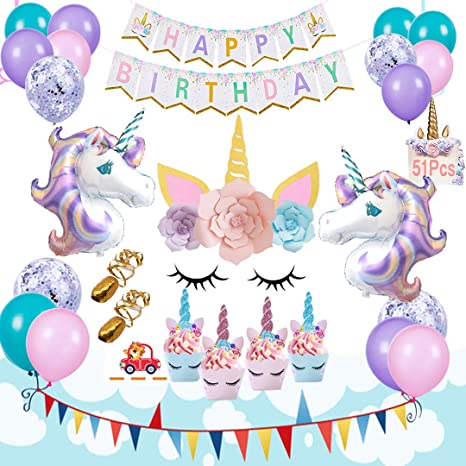 AIFUN Unicorn Balloons Birthday Party Supplies Decorations Kit Set Of 51 Included