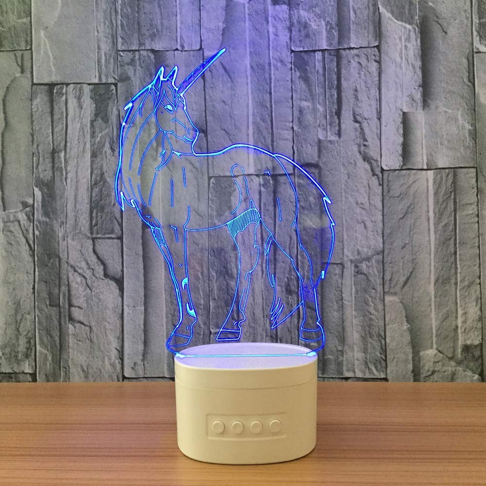 La Licorne Forme 3D Veilleuses Bluetooth Haut-Parleur Musique Lampe 5 Changement De Couleur Cheval Table Lampe partie atmosph/ère USB Lampe 3D