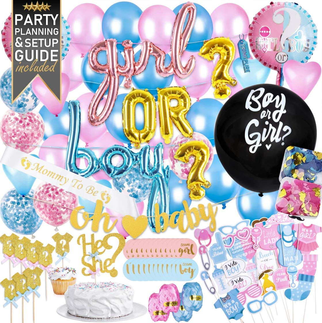 Baby Gender Reveal Party Supplies Decorations – 111 Piece Premium Kit Pink and Blue Balloons, 36 inch Gender Reveal Balloon, Boy or Girl Banner Replacement for Smoke Bombs Confetti Cannon