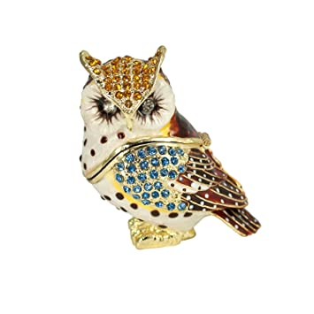 Amazoncom Owl Crystal Studded Jewelry Trinket Box Home Kitchen