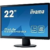 "iiyama ProLite E2283HS-B3 21.5"" Full HD TN Mat Noir écran plat de PC LED display - écrans plats de PC (54,6 cm (21.5""), 1920 x 1080 pixels, LED, 1 ms, 250 cd/m², Noir)"