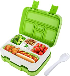 HOMETALL Lunch Box for Kids Bento Box for Toddler Children School Insulated Plastic Lunch Containers with Spoon 5 Compartments Leakproof Bpa-free Microwave Safe, Green