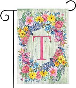 "Briarwood Lane Spring Monogram Letter T Garden Flag Floral Wreath 12.5"" x 18"""