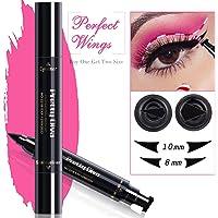 PrettyDiva Winged Eyeliner Stamp - 2Pcs/pack Waterproof Smudgeproof Long Lasting Liquid Eyeliner Pen, Double-Head Eye Makeup Seal Stamp Tool for Wing or Cat Eye - Black