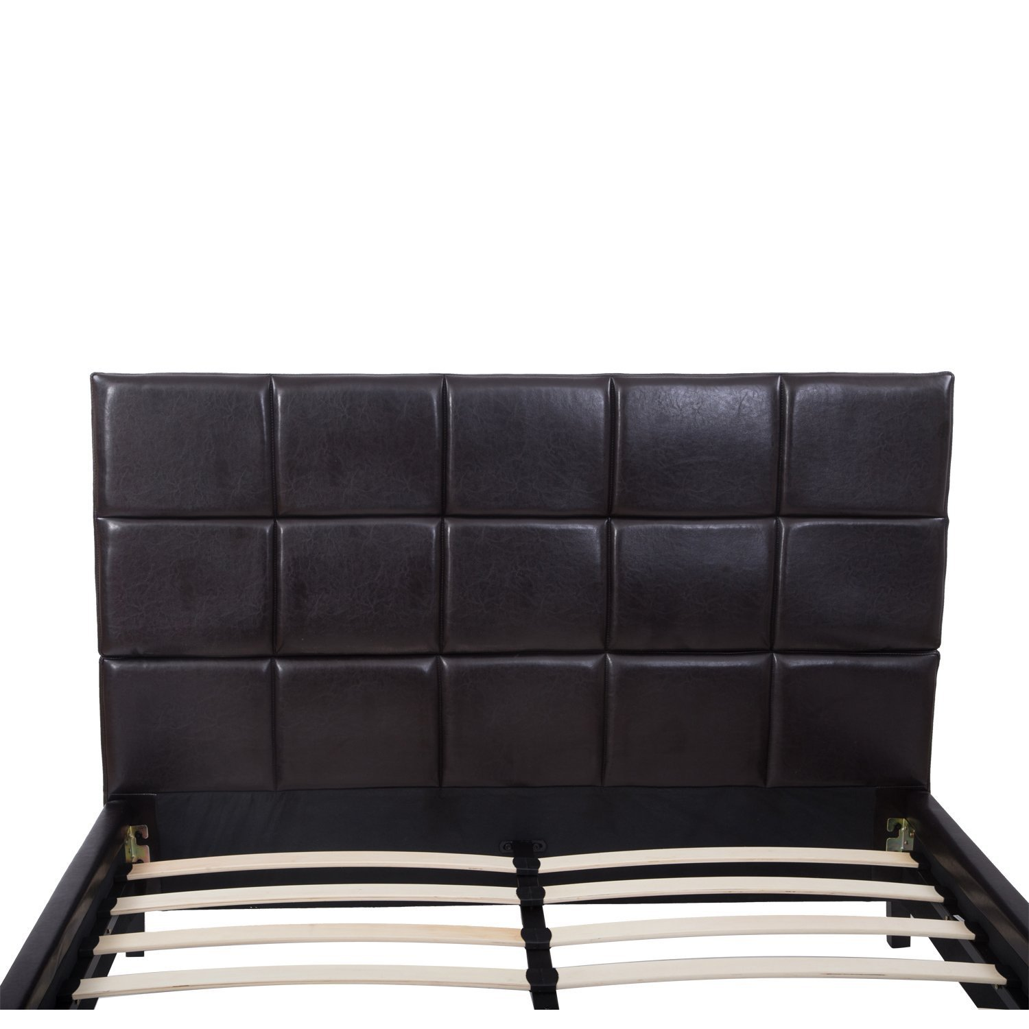 Low Queen Size Bed Part - 23: Amazon.com - HomCom Queen Size Black Faux Leather Low Profile Headboard  With Wood Slat Bed Frame -