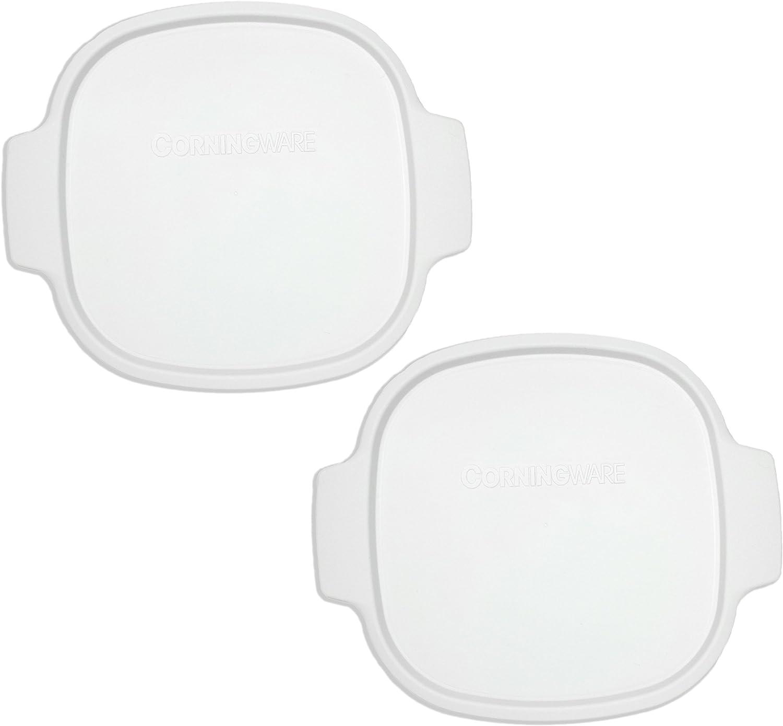 Corningware Stovetop A-2-PC 2-Quart/3-Quart White Color Square Pack of 2 Plastic Storage Lids