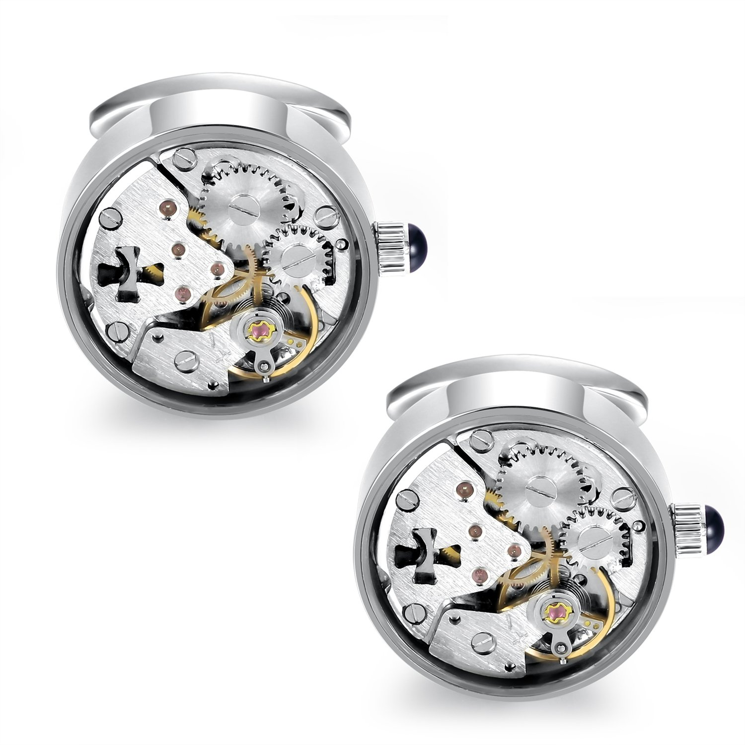 Dich Creat Unisex Stainless Steel Hollow Out Cross Steampunk Working Movement Cufflinks Covered With Glass