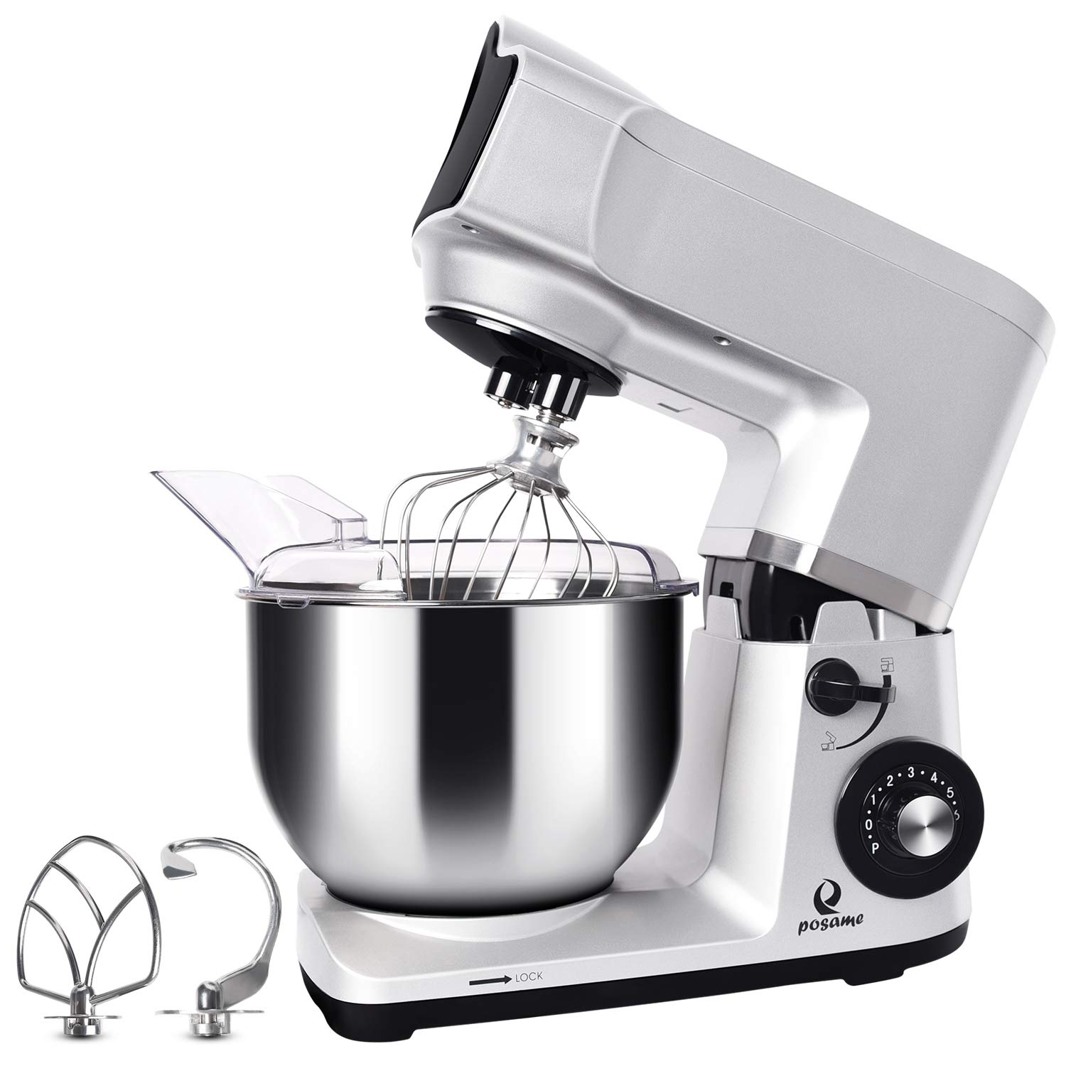 Stand Mixer, POSAME Professional 500W Bake Mixer Kitchen Electric Food Mixer with 5.0-Quart Stainless Steel Bowl, 6-Speed Cookie Dough Mixer with Dough Hook, Whisk, Beater