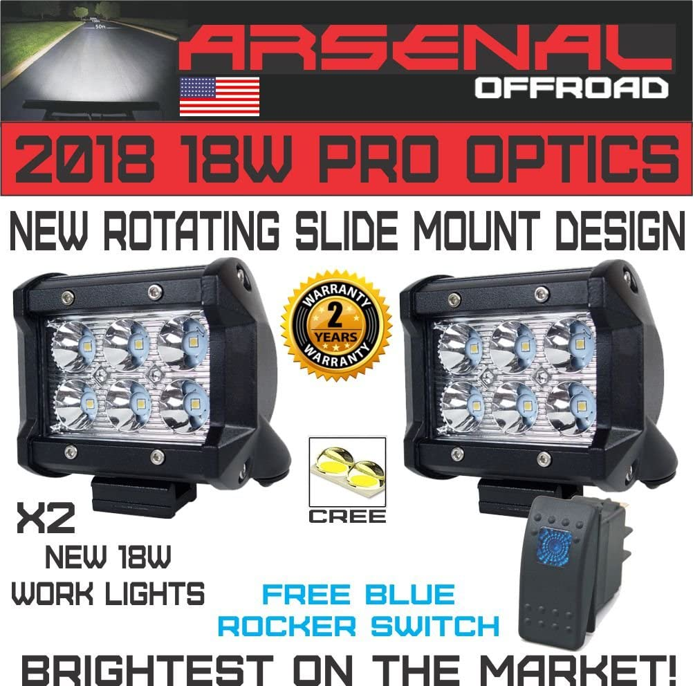 Mounting Bracket SUV Off-road Boat Headlight Spot Driving Fog Light #1 2x 4 Arsenal Offroad TM 18W 6 CREE LED Brightest on the Market