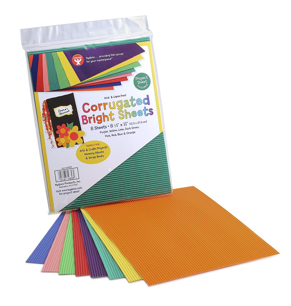 Corrugated Sheets 8-1/2X11 8/Pkg-Brights HYGLOSS 343927