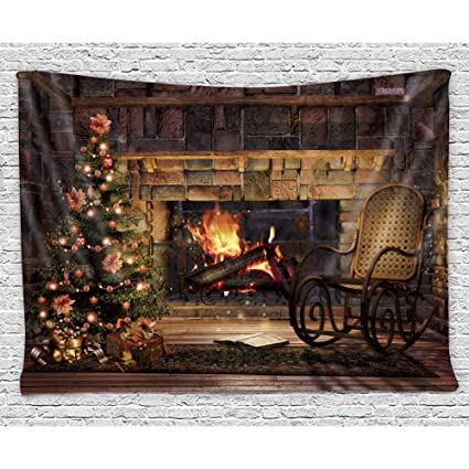 Sensational Szdr Tapestry Wall Hanging Christmas House A Rocking Chair Christmas Tree The Fireplace Bedding Tapestry Personality Dormitory Decoration Bedroom Machost Co Dining Chair Design Ideas Machostcouk