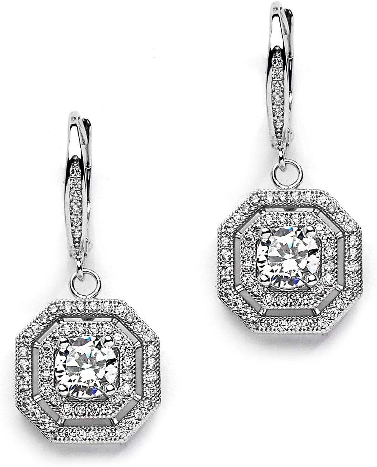 Mariell Art Deco Vintage Wedding CZ Dangle Bridal Earrings with Pave Octagon Drops