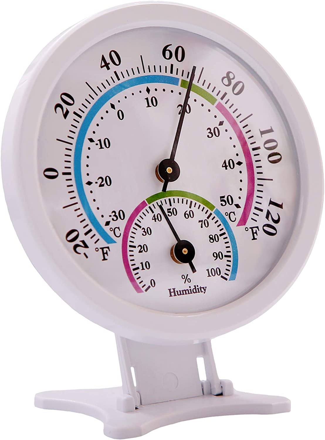 LayscoPro Mini Indoor Thermometer Hygrometer Analog 2 in 1 Temperature Humidity Monitor Gauge for Home, Room, Outdoor, Offices, Display Mechanical Diameter 75mm (No Battery Needed)-White
