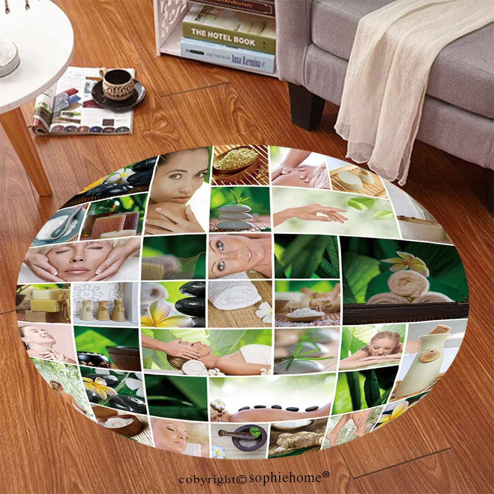 Sophiehome Soft Carpet 82780765 Spa theme photo collage composed of different images Anti-skid Carpet Round 24 inches