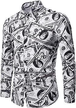 CHENS Camisa/Casual/Unisex/XXL Moda Hip Hop Hombres Camisas de Manga Larga de Alta impresión dólar Billete de Banco del Partido del Club del Hombre Tops Camisas: Amazon.es: Deportes y aire libre