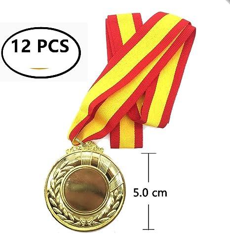 Durabol 12 Medalla Deportiva Metal 5 cm Oro+Cinta España: Amazon ...