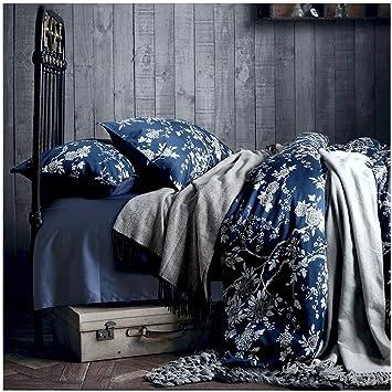 Eastern Floral Chinoiserie Blossom Print Steppdecke Navy Blau Tan