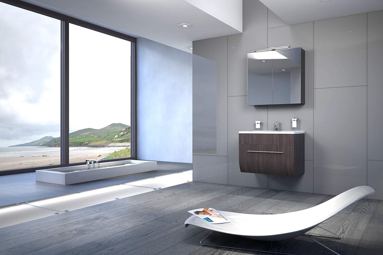 Waschplatz mit Mineralgussbecken /& Spiegelschrank 70 cm Badm/öbel-Set Zarif SAM 2tlg Bad-Set mit Softclose-Funktion Tr/üffeleiche matt