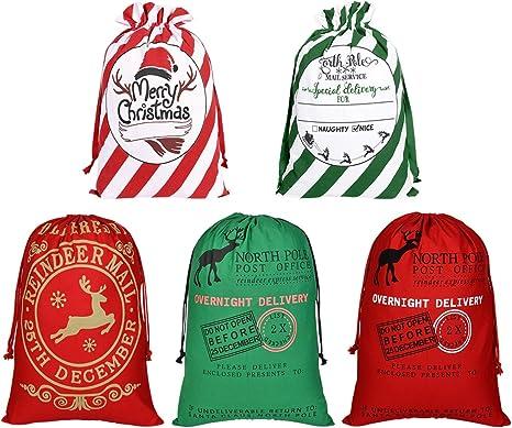 Christmas Santa Sack XMAS Gift Sack Stocking Storage Burlap Bag Drawstring