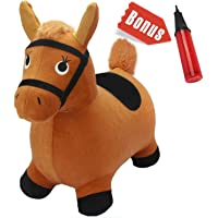 WP Brown Hopping Horse iPlay iLearn Activity Outdoors Ride-on Bouncy Animal Play Toys, Inflatable Hopper Plush Covered with Pump for Kids Toddlers Boys Girls