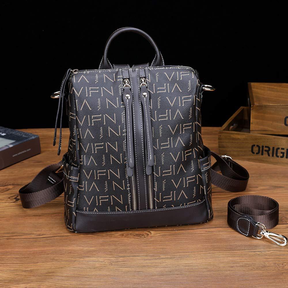 LAIDAYE Womens Leather Backpack Large-Capacity Simple Printed Casual Handbag