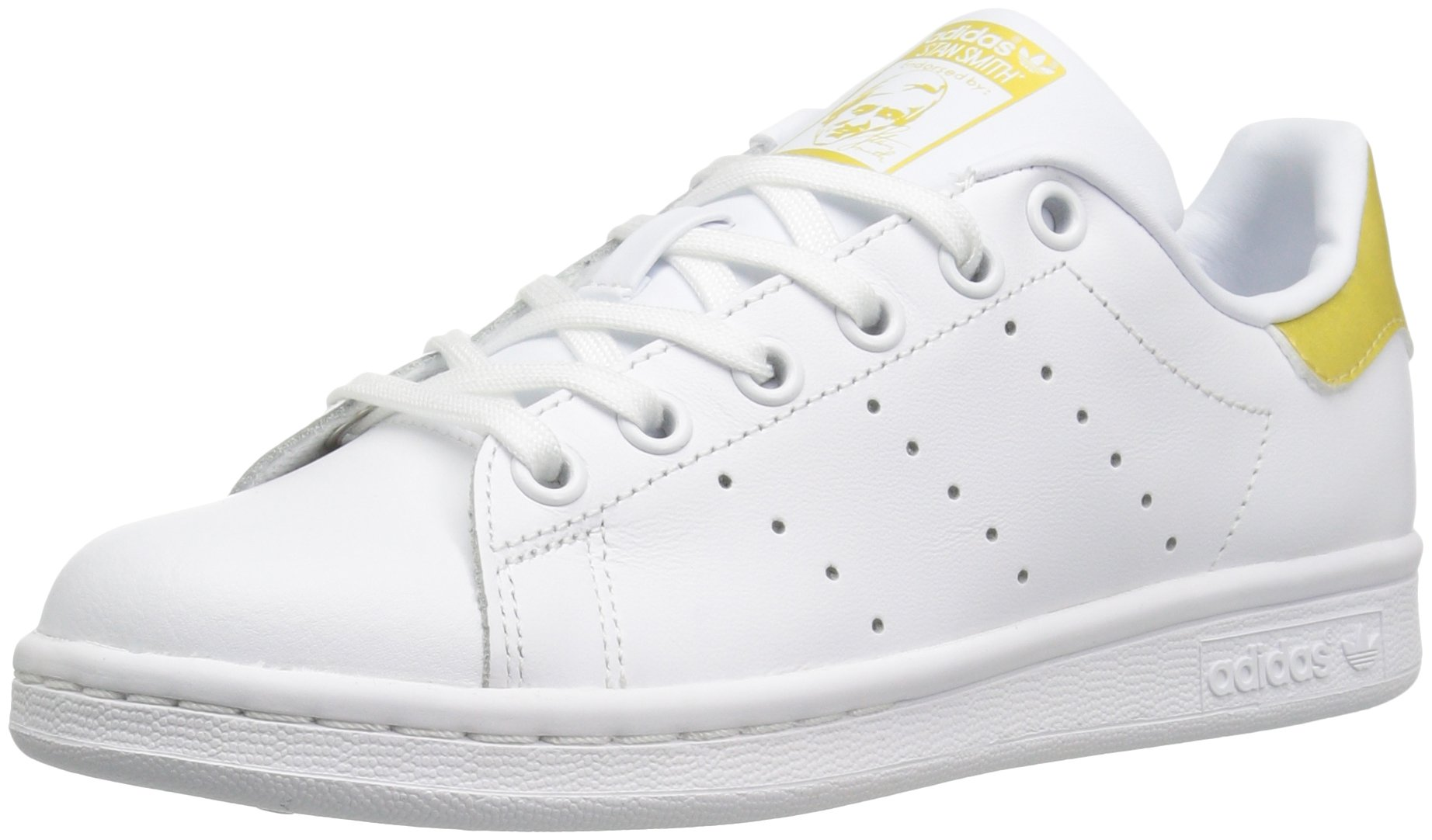 adidas Originals Boys' Stan Smith J Running Shoe, White/Metallic/Gold, 5 M US Big Kid