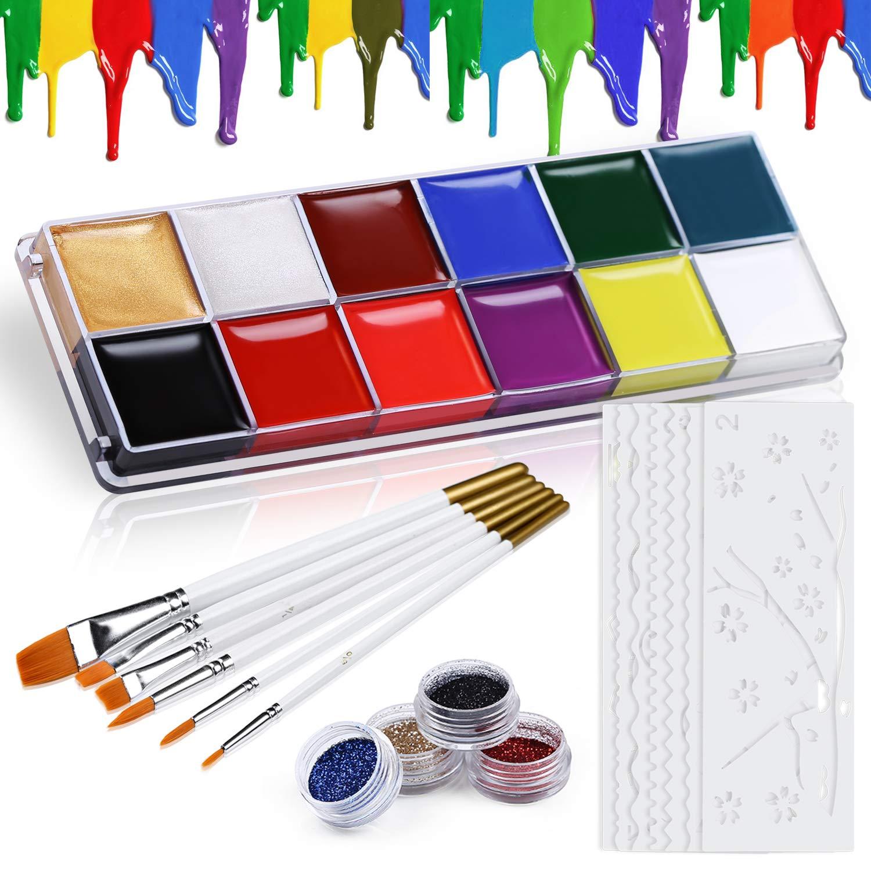 Kinderschminke Set Face Paint – 12 Farben Schminkpalette - Hochwertiges Kinder Schminkset Ideal für Kinder Partys Mädchen & Fasching - Schminkfarben, Schablonen, Glitzer, Gesichtsfarben