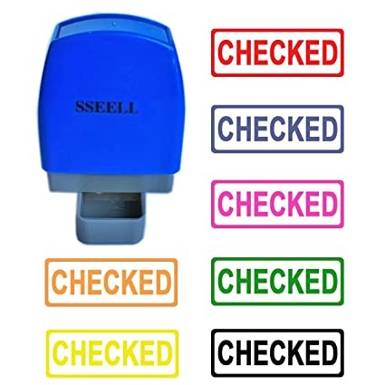 Orange Ink Color SSEELL Entered Self Inking Rubber Flash Stamp Self-Inking Pre-Inked RE-inkable Office Work Company School Stationary Stamps with Frame Line